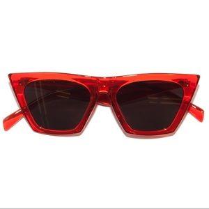 Accessories - Retro 60s Red & Smoke Lens Catfarer Sunglasses